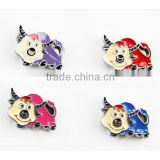 DIY Hot sale zinc alloy metal buffalo slider charm