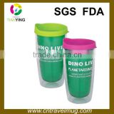 16oz colorful double wall promotion hard acrylic plastic travel cup mugs with lid