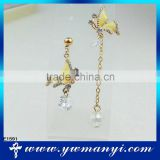 Butterfly gold simple design crystal jewelry cuff earring E1591