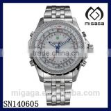 Fashion Sport LED Stainless Steel MEN'S Quartz Battery White dial Silver Watch