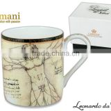 CARMANI gift set Cup + Saucer with LEONARDO DA VINCI artwork