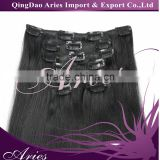 "full head clip in 100% remy human hair extensions 20"" 80g straight jet black from alibaba qingdao factory"