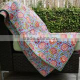 Indian Hand Block Printed Baby Blanket Cotton Kantha Baby Dohar Floral Print Baby Blanket
