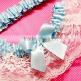 Ribbon Wedding Garter Set With Lace Trim,Classic Something Blue And White Lace Garter belt