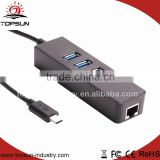 Factory wholesale usb 31 type c male to LAN and USB 3.0 converter