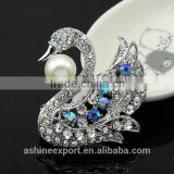 Cute animal series-noble exquisite swan pearl rhinestone brooch/handmade brooch