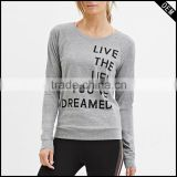 Lightweight Black 95% Cotton 5% Spandex Womens Long Sleeve T-shirt Custom Printed Slim Fit Workout T Shirts Wholesale