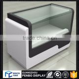 Competitive products wood glass cell phone display table, mobile phone display showcase table