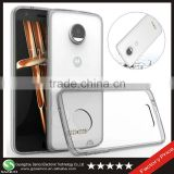 Samco Shock Resistant Smoke Black Soft TPU Bumper Hard PC Clear Back Panel Back Cover Case for Moto Z Droid