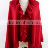 winter women capes cashmere knitted poncho shawl with flower fringe