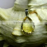 Citrine Pear Facet Natural Gemstone Pendant , 925 Solid Sterling Silver Pendant, Designer Prong Pendant