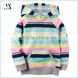 Hot sale all over stripe printed hooded ribbed cuff 100% french terry cotton children girls hoodies