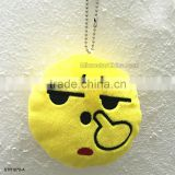 Newest Key Chains 8cm Emoji Smiley Small pendant Emotion Yellow QQ Expression Stuffed Plush doll toy for Mobile bag pendant