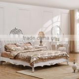 Neo-classical European style solid wood carved wedding bedroom set Bed Bedside table Wardrobe Dressing table Bench Commode