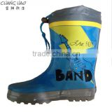 Boys rubber rain boot has guitar printed with gray Oxford fabric