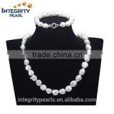 10mm AA irregular shaped baroque white simple deisgn natural cultured pearl set
