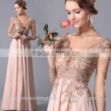 Wholesale Good Quality New Cheap Lace formal Long Sleeve Beach Long Bridesmaid Evening Dress LB45