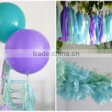 "NEW party decoration kit - under the sea mermaid birthday- 2 giant 36"" balloons with tassels + 10 pom poms + tassel garland"