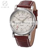AGENTX Luxury Silver Case Analog Men Calendar Wristwatch Casual Fashion Quartz Leather Strap Watch