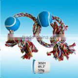 2013 new design colorful cotton pet rope toys, happy pet toy with two knots and balls rope toy