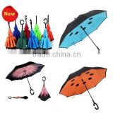 Double Layer Sun C Handle Inverted Umbrella