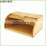 Bamboo roll top bread keeper french baguette box Homex BSCI/Factory