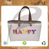 12 OZ natural canvas tote bag with lining & with PU handle & with Magnet button closure with inside zip pocket