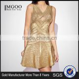 MGOO 2015 Brand Custom Made Cheap Price Gold Bandage Dress For Women Open With Back A Line Hollow Out Dress H487
