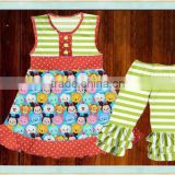 wholesale girls purple clothes girl summer green stripe pattern outfit