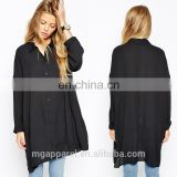 2015 new design chiffon ladies blouse long sleeve longline shirt black oversized longline blouse