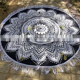 "Indian Latest 72"" Round Tapestry Black Ombre Mandala Design Beach Towel Wall Hanging"