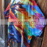 KGN INDIAN STYLE HAND PAINTED INSPIRED SILK BLEND ART TO WEAR LONG PONCHO AND BEAUTIFUL TUNIC DRESS
