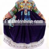 Traditional Balochi Coins Dress- Afghan Dress In Velvet Tribal Silk Embroidered Dress- Banjara Kuchi Tribal Ethnic Clothes