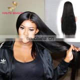 Factory price 2017 indian human virgin hair 9A lace front wig in silky straight cuticle aligned hair