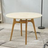 Modern simple white and black round wood dining table for restaurant
