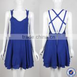 V-neckline and A-line skirt one piece backless blue color dress