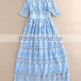 2016 Summer Dresses Brand Runway Lace hollow out Mid-Calf Blue / White Elegant Lace Dress High quality