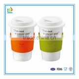 Personalized ceramic travel mug with silicone lid and sleeve                                                                         Quality Choice