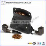 New arrival top grade leather smoking pipe holder with zipper pocket