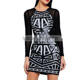 Black Sexy Women Mesh Dress Long Sleeve Patchwork See Through 2016 Evening Party Mini Bandage Clubwear Dress