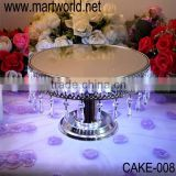 2016 latest lighted crystal cake stand for cake display with hanging crystals for wedding cake holders (CAKE-008)                                                                         Quality Choice