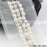 white pearl and rhinestone embellishment trim(YKL-161 white)