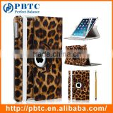 Fashion Style 360 Rotating Brown Leopard Print Tablet Leather Case