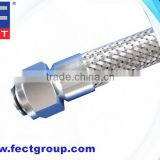 Flexible Metal Hose with Metric Female Thread, 24 degree Cone, O-ring