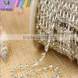 3 FEET 1 Yard SS6 2mm Clear Crystal Silver Plated Rhinestone Chain Trims Cup Chain Wedding Garments Decoration YSCHC1031
