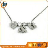 Fashion Stainless steel Alphabet necklace jewelry, stainless steel letters pendant necklace