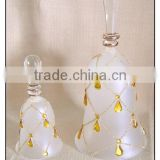 Decorative Clear and Diamond Hanging Glass Bell with Yellow Water-drop