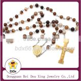 China Supply Muslim Prayer Jewelry Stainless Steel 6MM Rare Natural Carnelian Agate Rosary Beads Jesus Cross Pendant Necklace