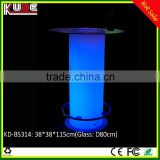 LED Bar Furniture KD-BS314 LED glowing cocktail bar table with glass