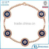 Fashion rose gold turkish evil eye silver bracelet costume jewelry from china